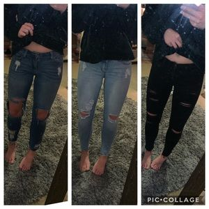 Cropped Skinny Jeans Destroyed Ripped